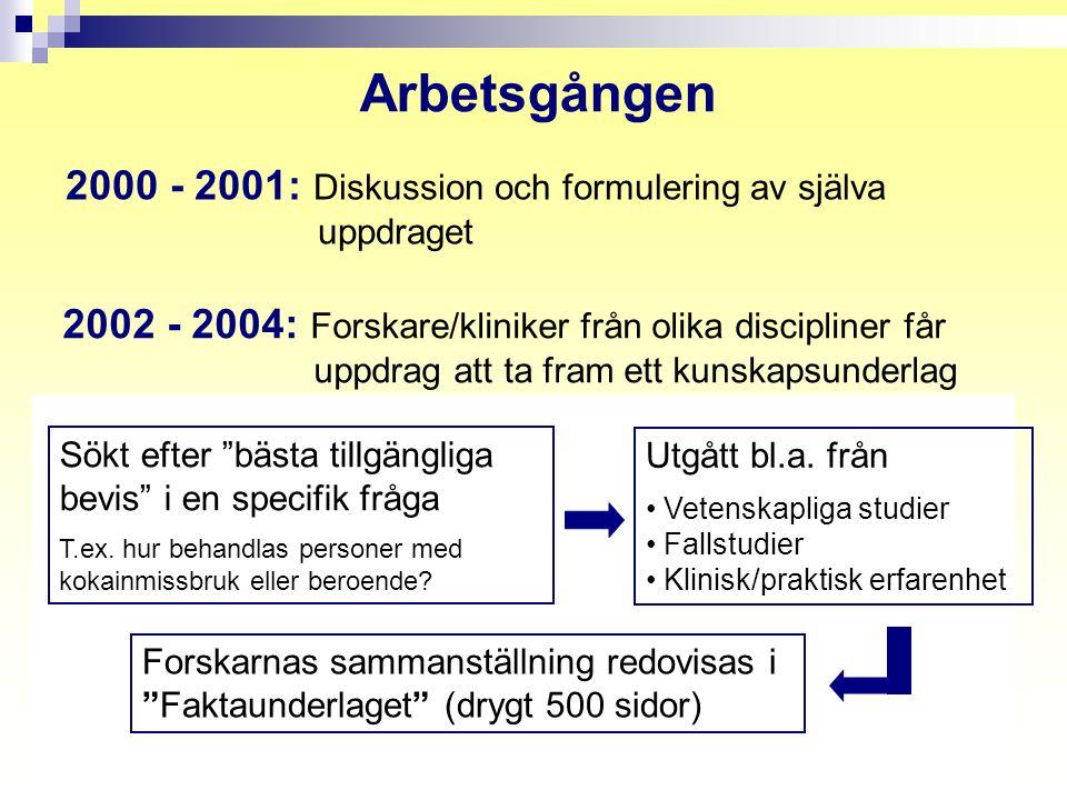 Arbetsgången 2000 - 2001: Diskussion och formulering av själva uppdraget.