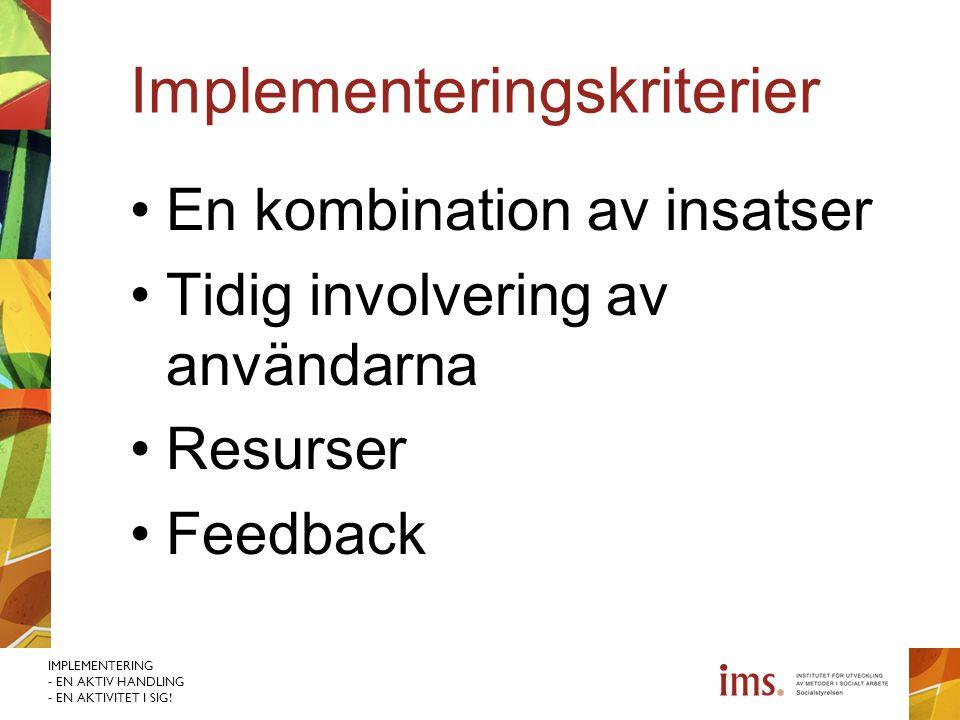 Implementeringskriterier
