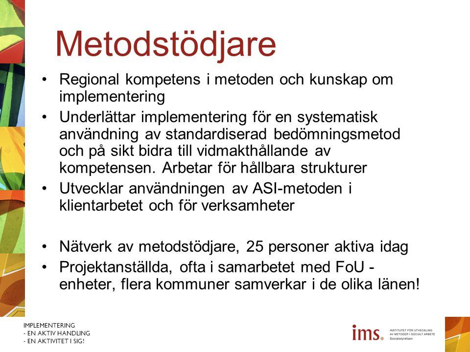 Metodstödjare Regional kompetens i metoden och kunskap om implementering.
