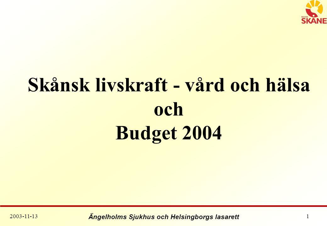 Skånsk livskraft - vård och hälsa och Budget 2004