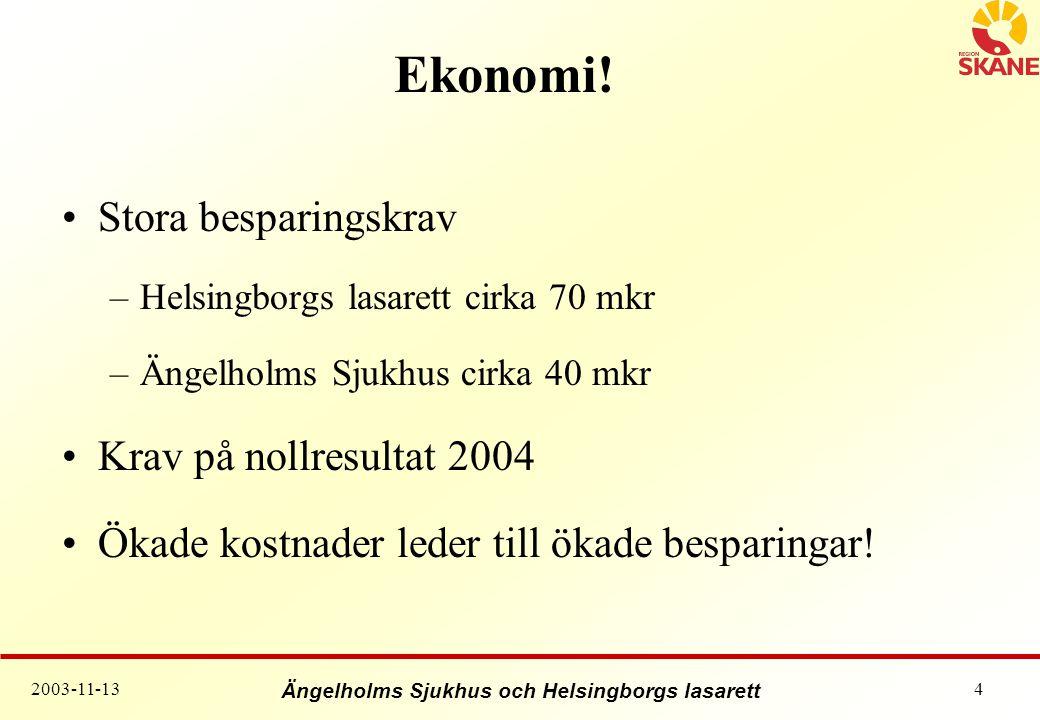Ekonomi! Stora besparingskrav Krav på nollresultat 2004