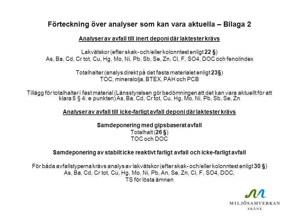 Förteckning över analyser som kan vara aktuella – Bilaga 2