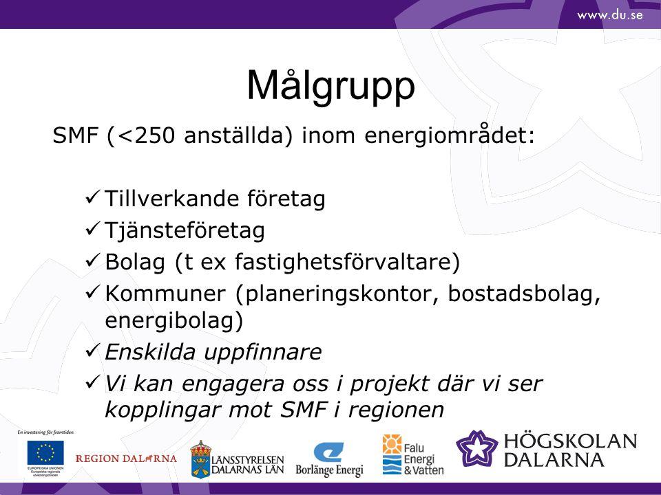 Målgrupp SMF (<250 anställda) inom energiområdet: