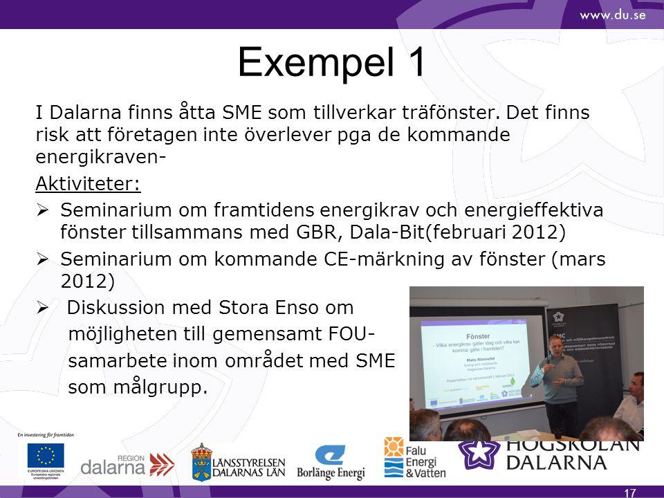 Exempel 1 I Dalarna finns åtta SME som tillverkar träfönster. Det finns risk att företagen inte överlever pga de kommande energikraven-