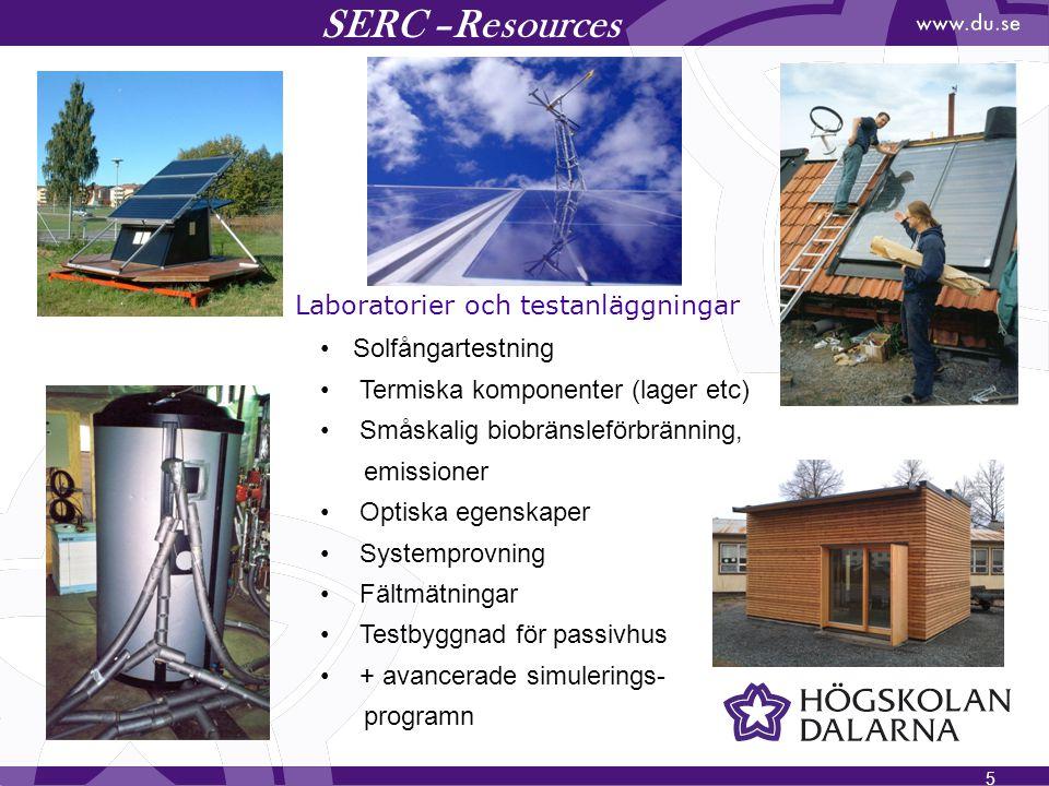 SERC –Resources Laboratorier och testanläggningar Solfångartestning