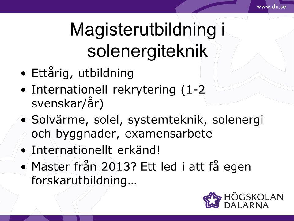 Magisterutbildning i solenergiteknik