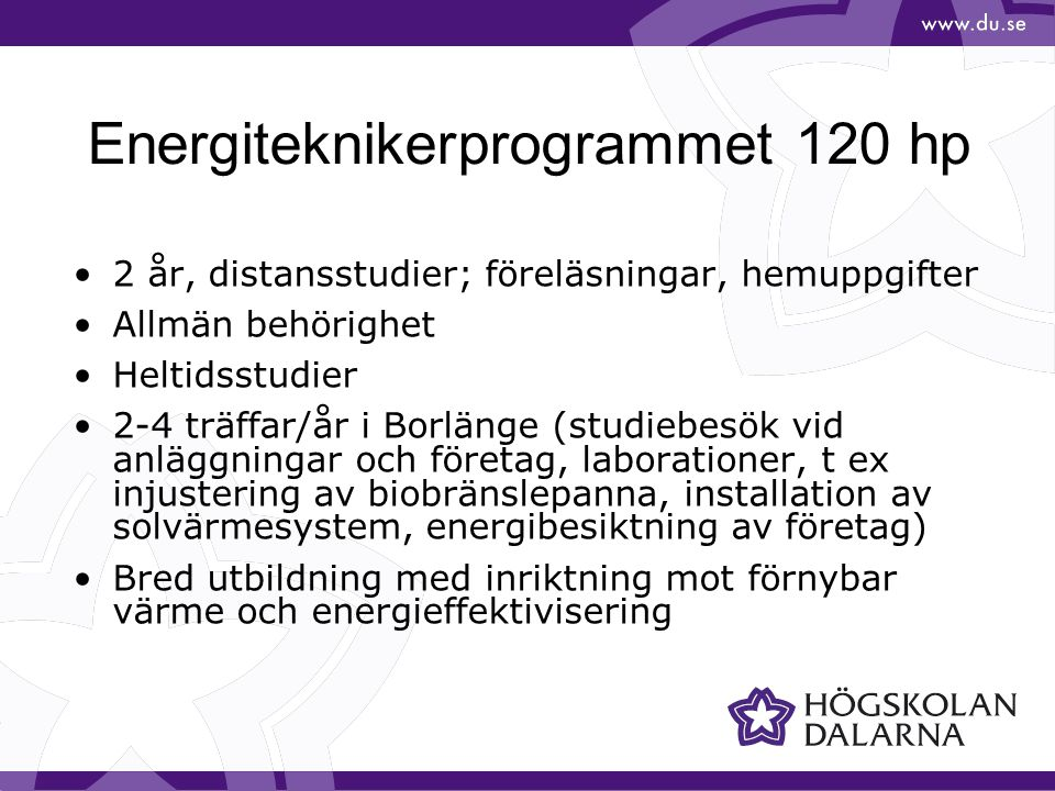 Energiteknikerprogrammet 120 hp