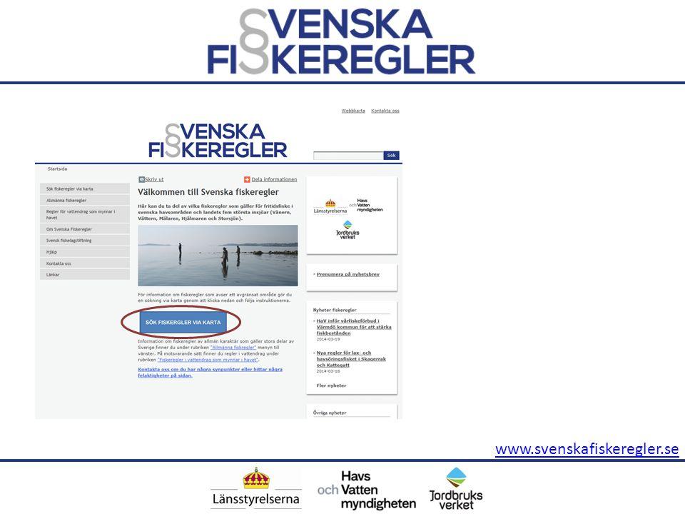 Genom att klicka på Sök fiskeregler via karta (markering 1) så når du karttjänsten där du kan söka efter regler i valfritt område.