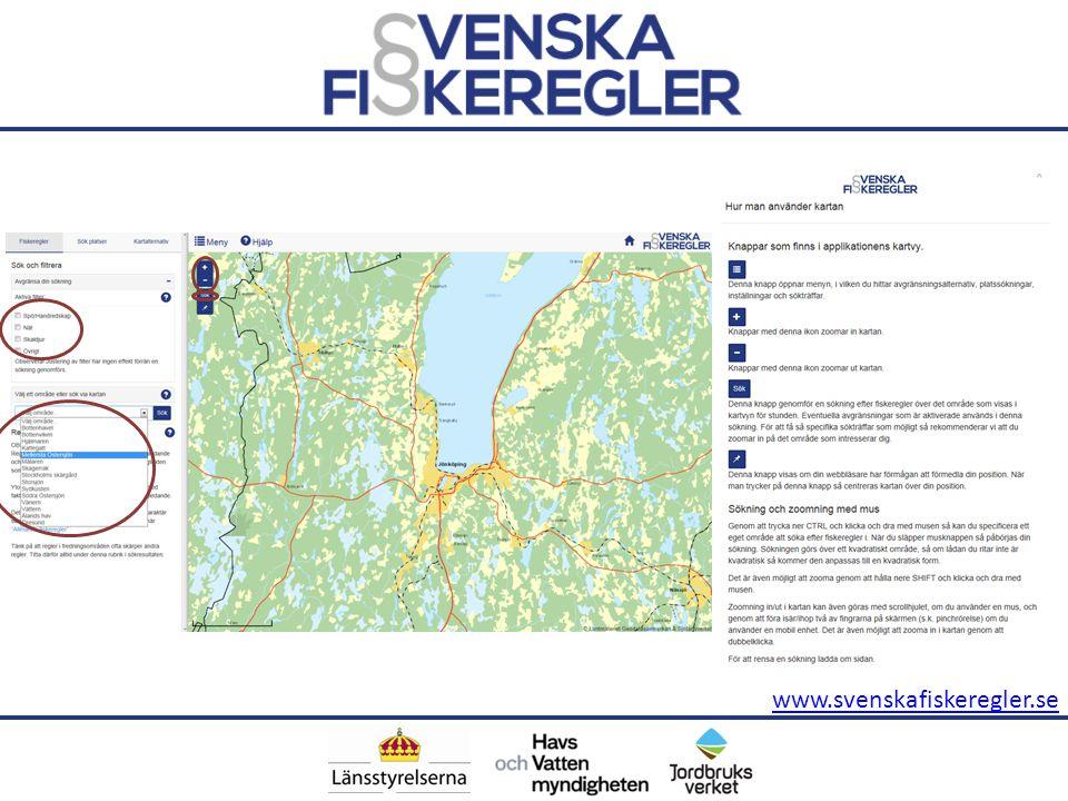 Efter klick Sök fiskeregler via karta når man karttjänsten