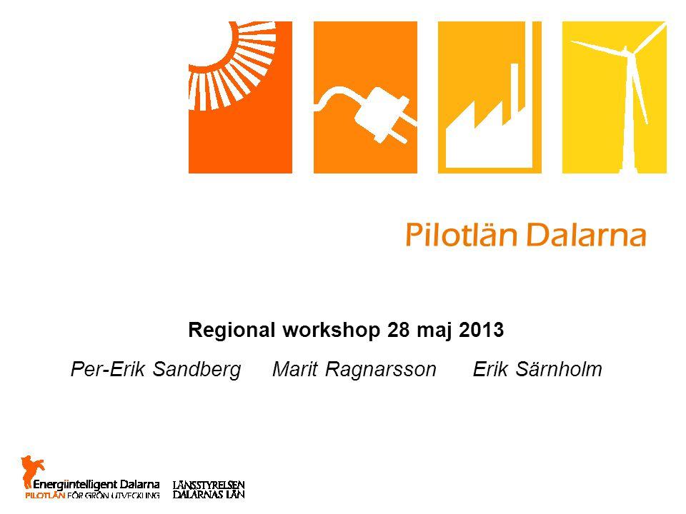 Pilotlän Dalarna Regional workshop 28 maj 2013 Per-Erik Sandberg Marit Ragnarsson Erik Särnholm