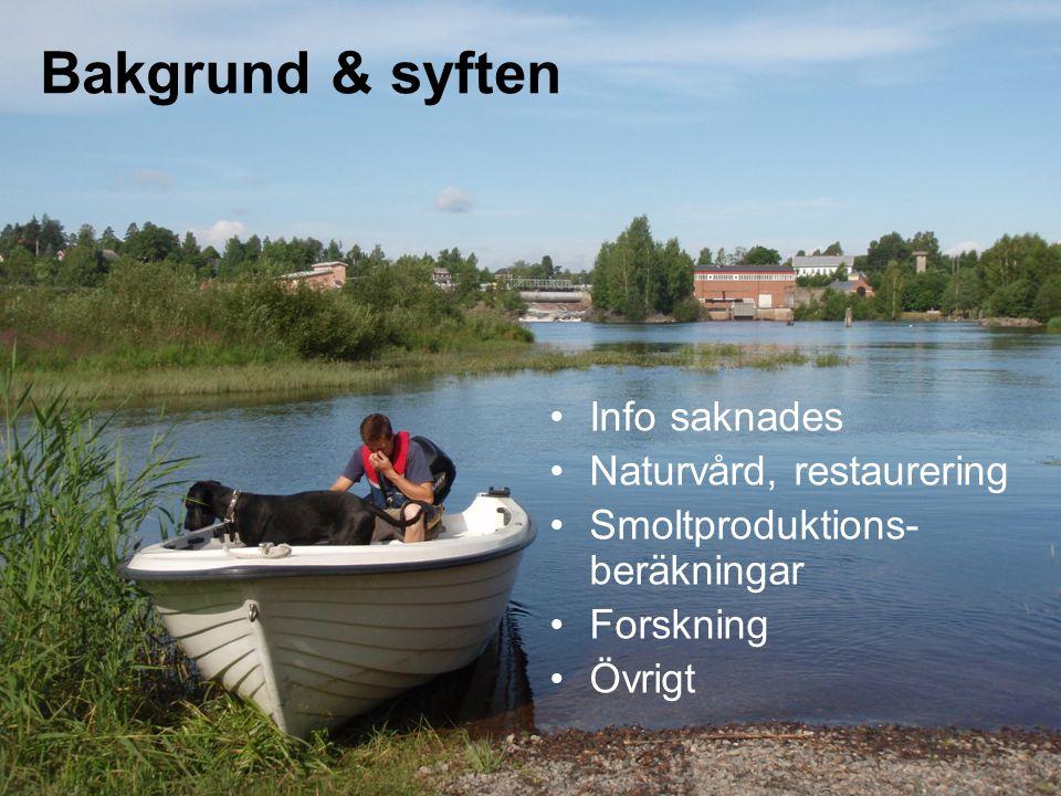 Bakgrund & syften Info saknades Naturvård, restaurering