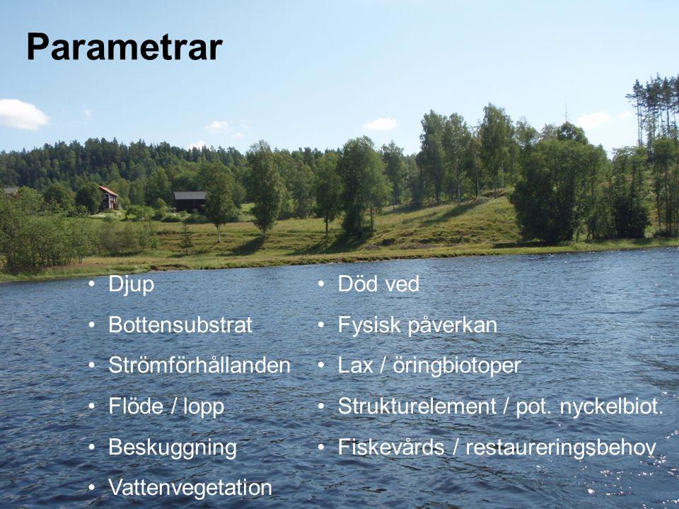 Parametrar Djup Bottensubstrat Strömförhållanden Flöde / lopp