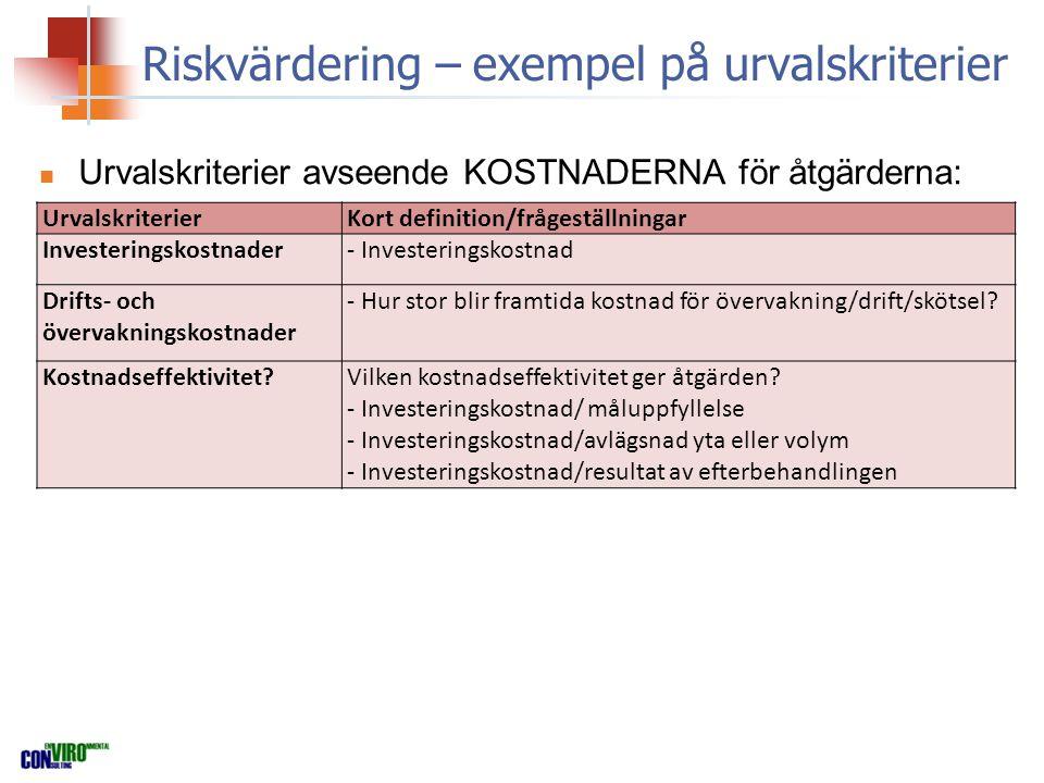 Riskvärdering – exempel på urvalskriterier