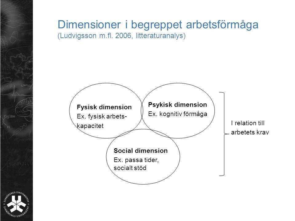 Dimensioner i begreppet arbetsförmåga (Ludvigsson m. fl