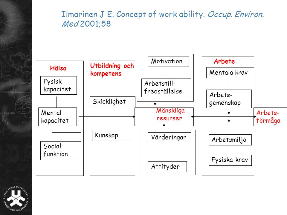Ilmarinen J E. Concept of work ability. Occup. Environ. Med 2001;58