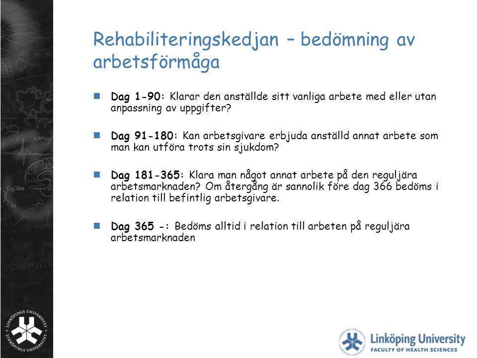 Rehabiliteringskedjan – bedömning av arbetsförmåga