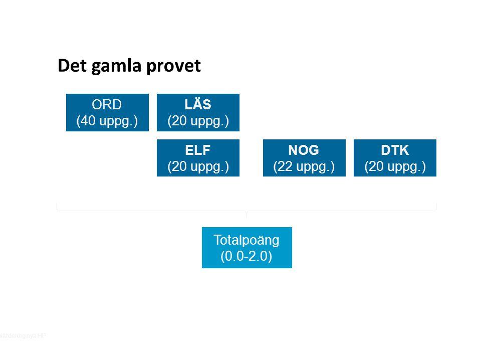 Det gamla provet ORD (40 uppg.) LÄS (20 uppg.) ELF (20 uppg.)