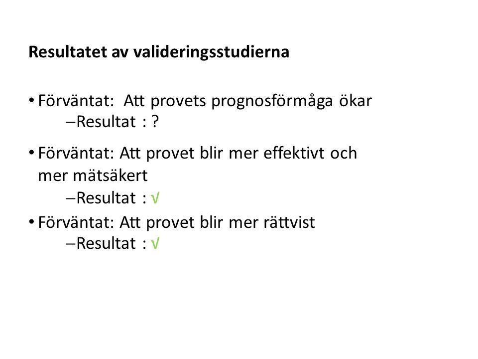Resultatet av valideringsstudierna