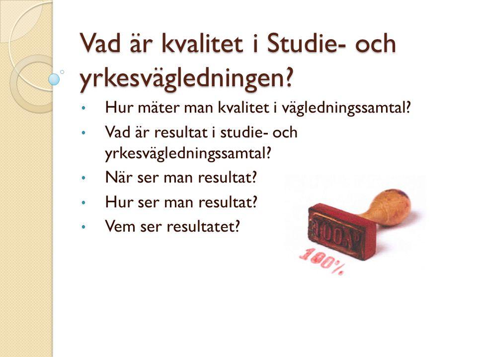 Vad är kvalitet i Studie- och yrkesvägledningen