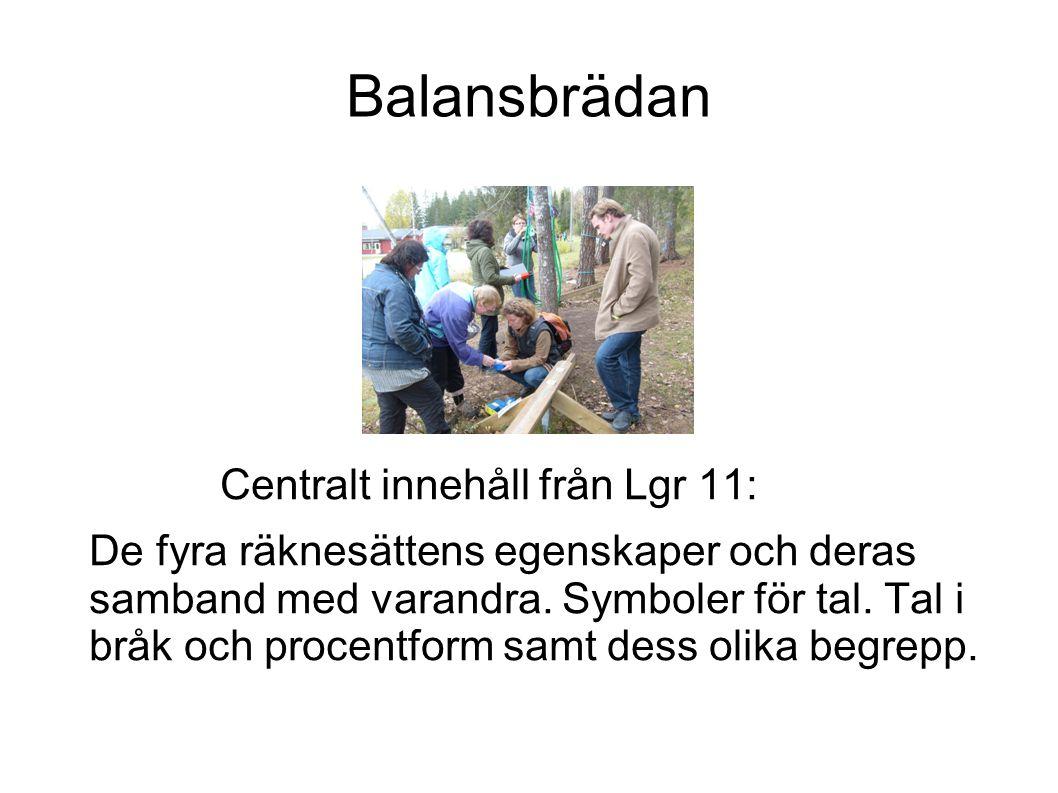 Balansbrädan Centralt innehåll från Lgr 11: