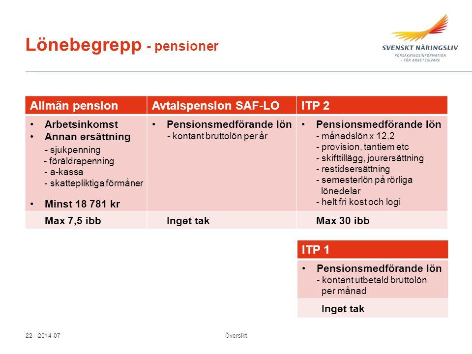 Lönebegrepp - pensioner
