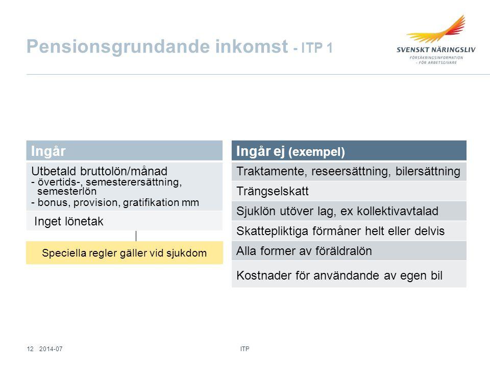 Pensionsgrundande inkomst - ITP 1