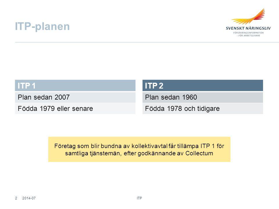 ITP-planen ITP 1 ITP 2 Plan sedan 2007 Födda 1979 eller senare