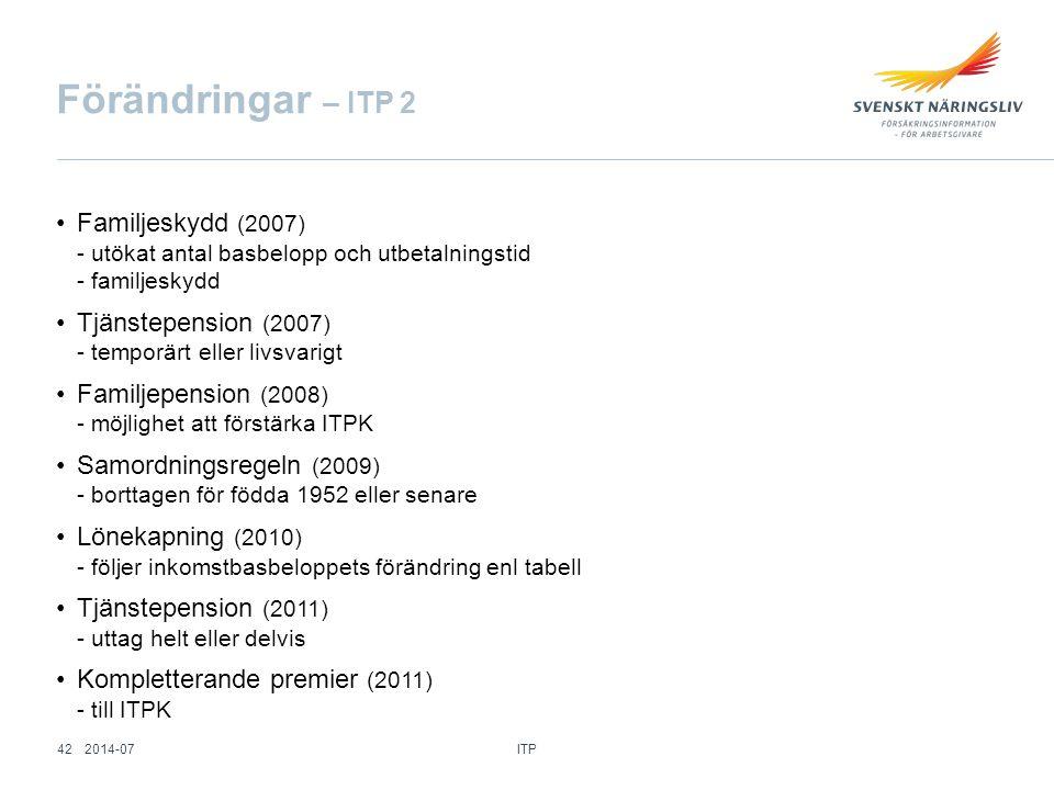 Förändringar – ITP 2 Familjeskydd (2007) Tjänstepension (2007)