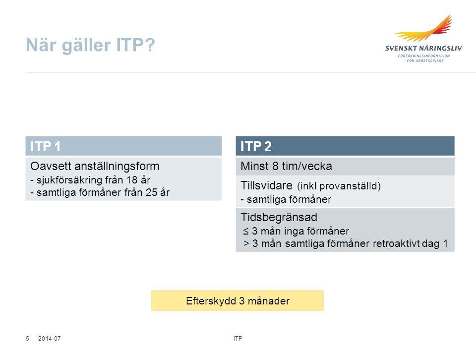 När gäller ITP ITP 1. Oavsett anställningsform - sjukförsäkring från 18 år - samtliga förmåner från 25 år.