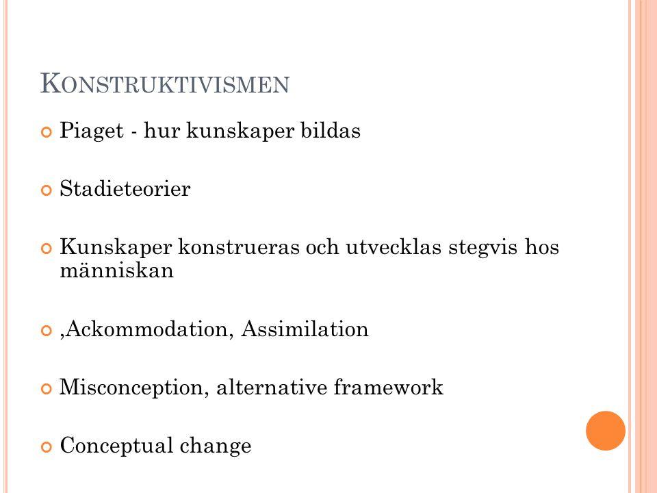 Konstruktivismen Piaget - hur kunskaper bildas Stadieteorier
