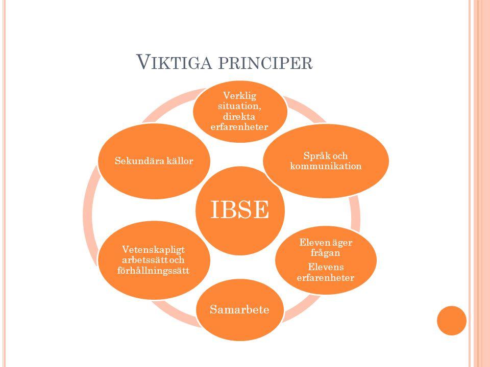 Viktiga principer Vetenskapligt arbetssätt och förhållningssätt