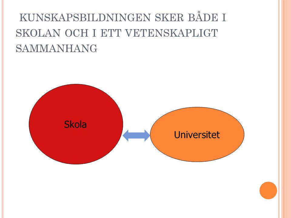 kunskapsbildningen sker både i skolan och i ett vetenskapligt sammanhang