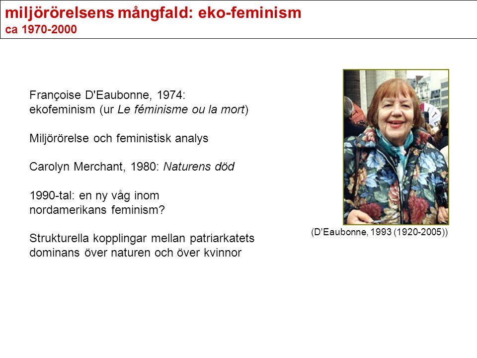 miljörörelsens mångfald: eko-feminism ca 1970-2000