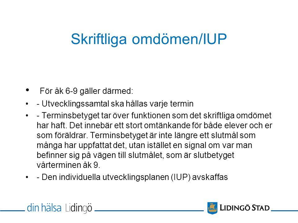Skriftliga omdömen/IUP