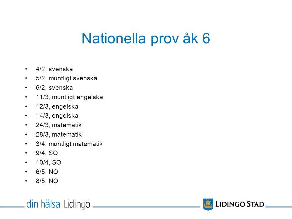 Nationella prov åk 6 4/2, svenska 5/2, muntligt svenska 6/2, svenska
