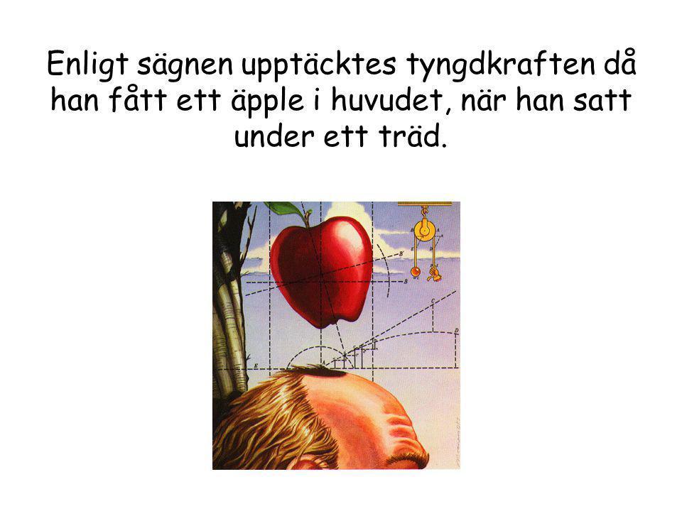 Enligt sägnen upptäcktes tyngdkraften då han fått ett äpple i huvudet, när han satt under ett träd.