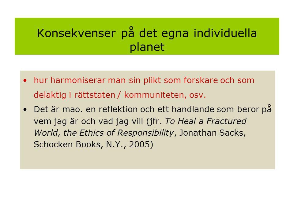 Konsekvenser på det egna individuella planet