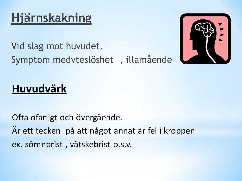 Hjärnskakning Huvudvärk Vid slag mot huvudet.