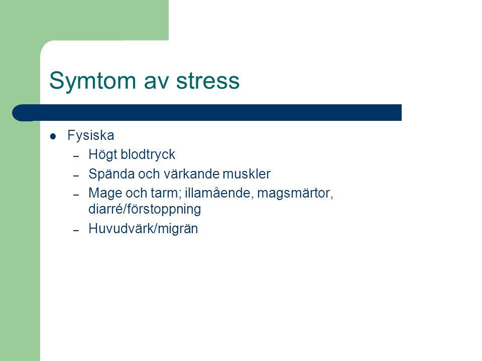 Symtom av stress Fysiska Högt blodtryck Spända och värkande muskler