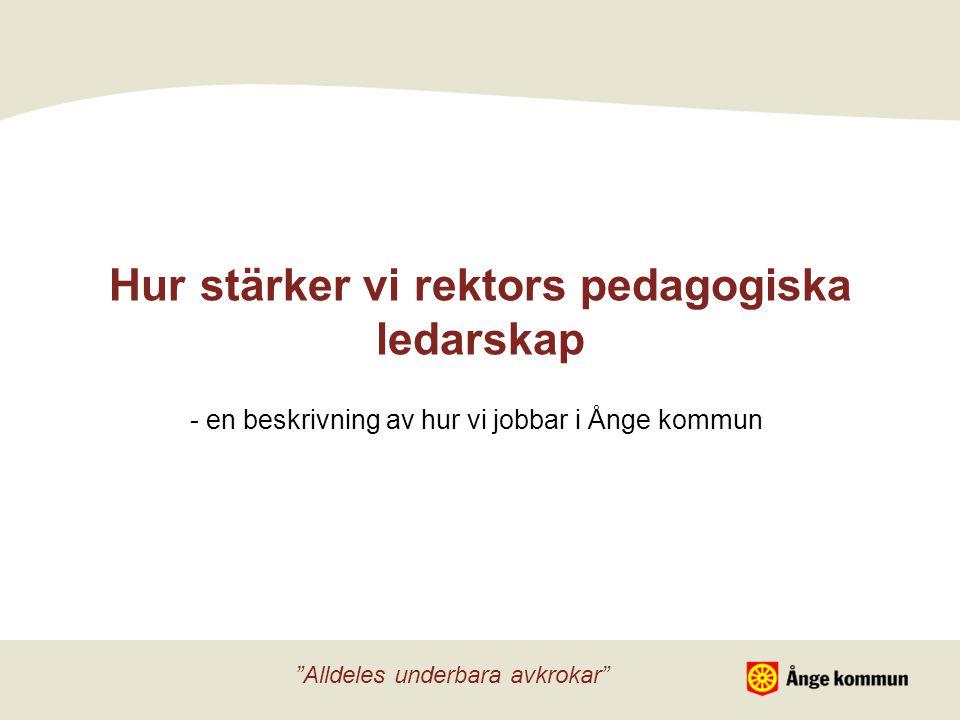 Hur stärker vi rektors pedagogiska ledarskap