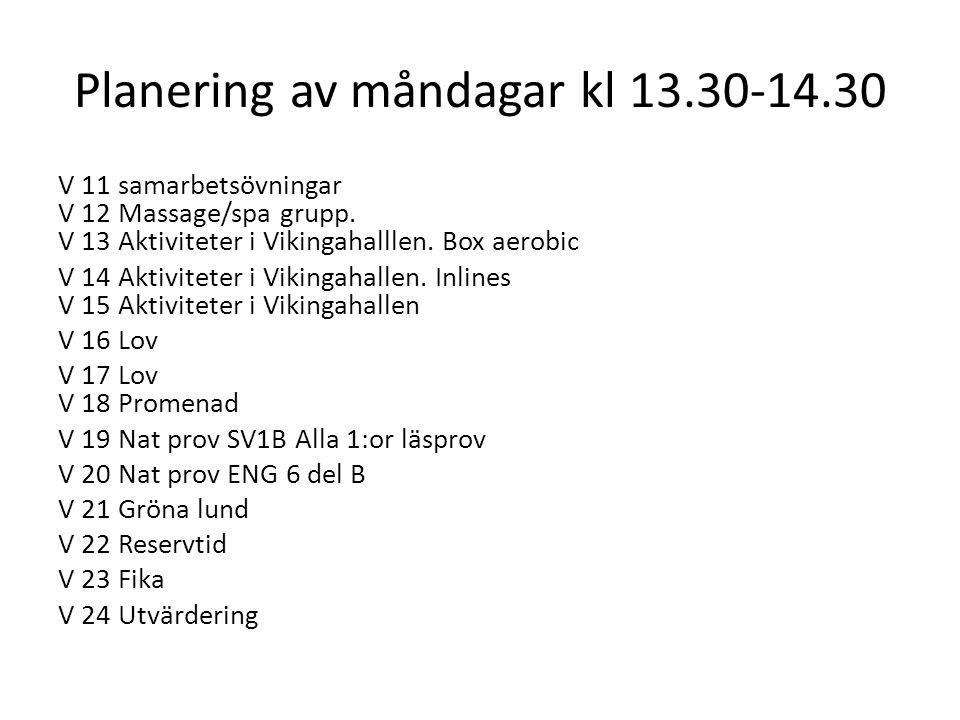 Planering av måndagar kl 13.30-14.30