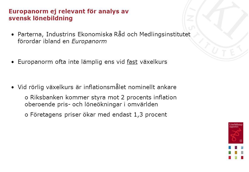 Europanorm ej relevant för analys av svensk lönebildning