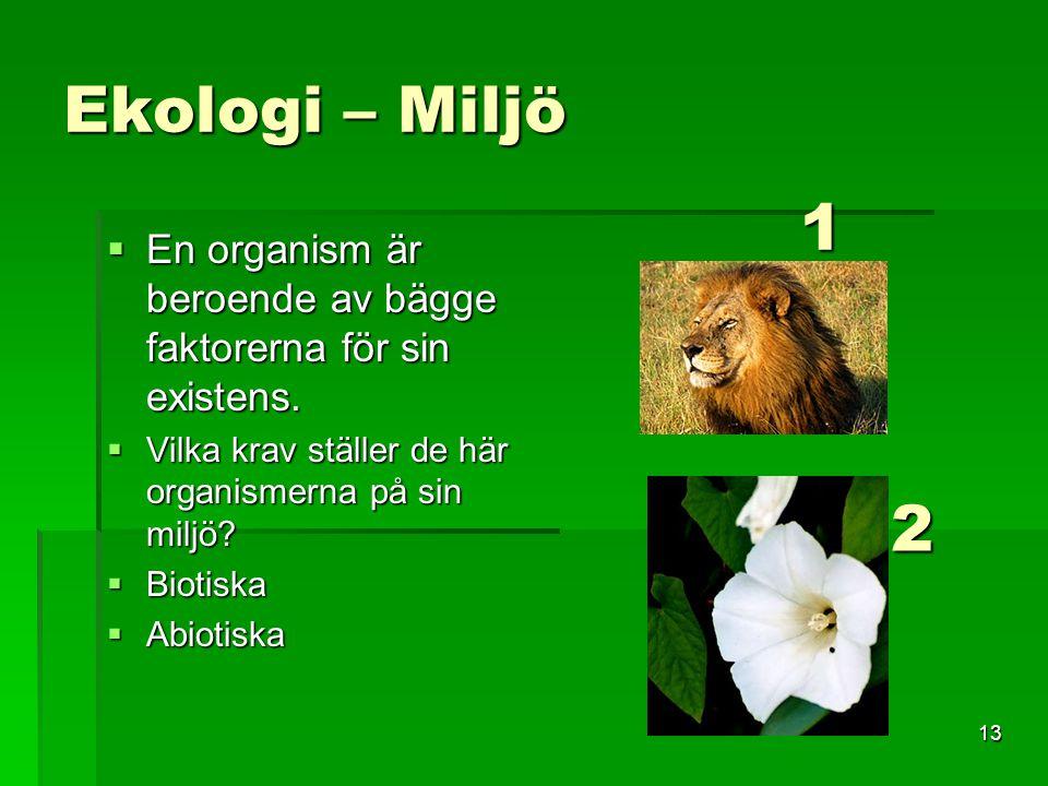 Ekologi – Miljö En organism är beroende av bägge faktorerna för sin existens. Vilka krav ställer de här organismerna på sin miljö