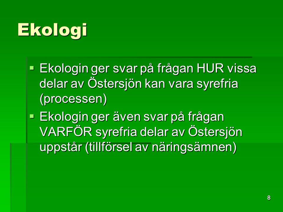 Ekologi Ekologin ger svar på frågan HUR vissa delar av Östersjön kan vara syrefria (processen)