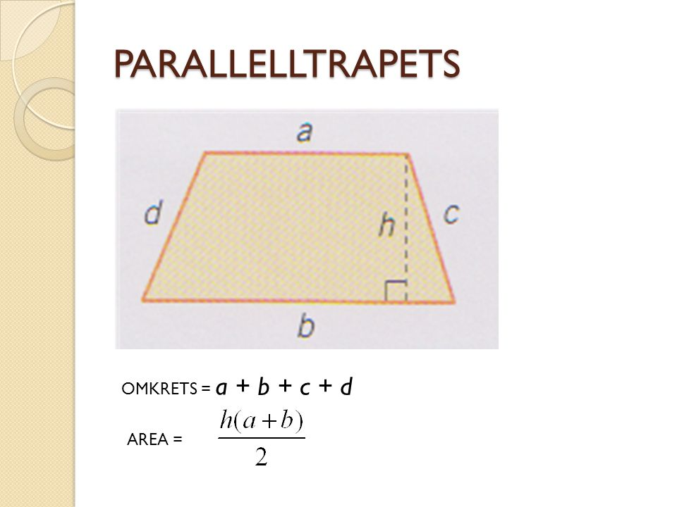 PARALLELLTRAPETS OMKRETS = a + b + c + d AREA =