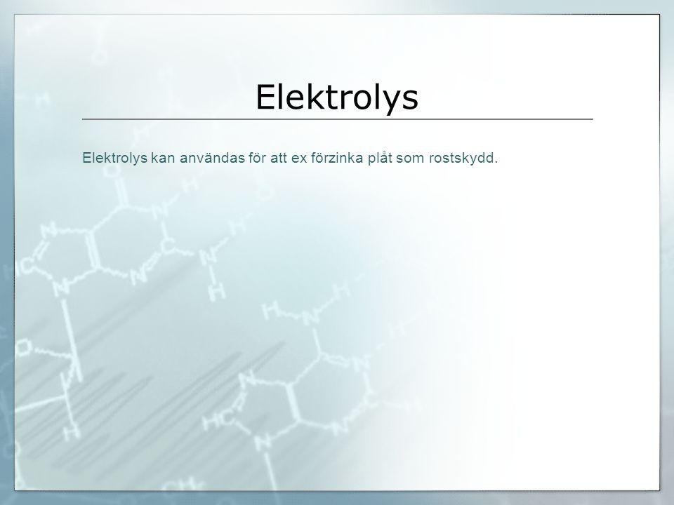 Elektrolys Elektrolys kan användas för att ex förzinka plåt som rostskydd.