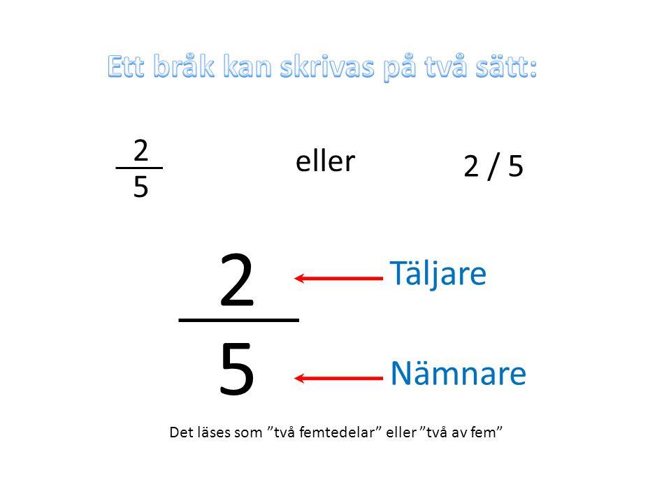 2 5 Täljare Nämnare Ett bråk kan skrivas på två sätt: 2 eller 2 / 5 5