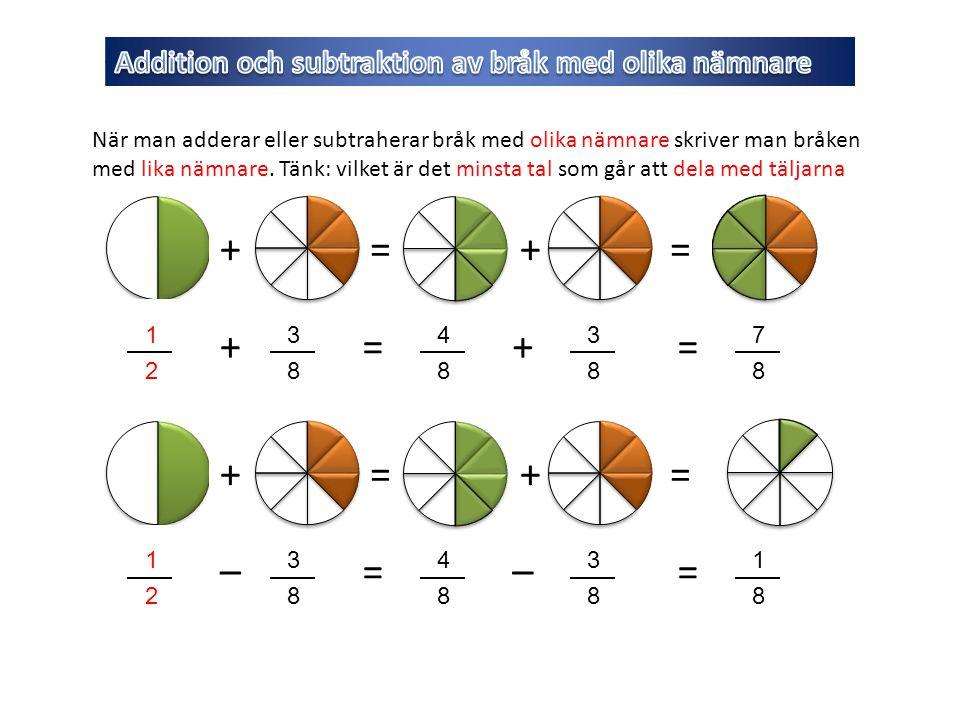 Addition och subtraktion av bråk med olika nämnare