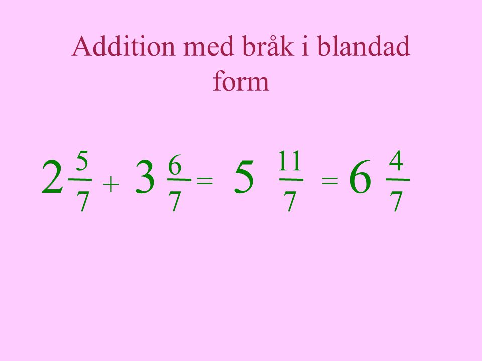 Addition med bråk i blandad form