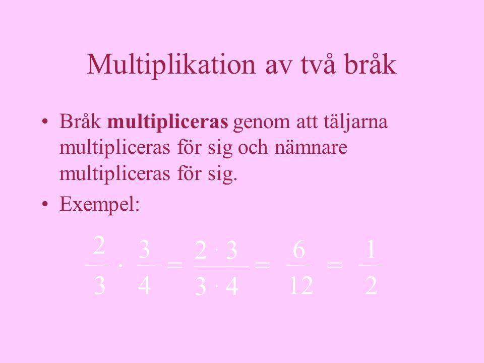 Multiplikation av två bråk